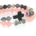 Bracelet Set of Two Gemstone Bead Stretch Bracelets