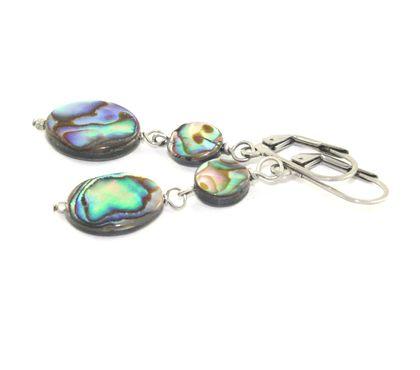 Paua Shell Drop Earrings, Vibrant New Zealand Abalone Jewellery