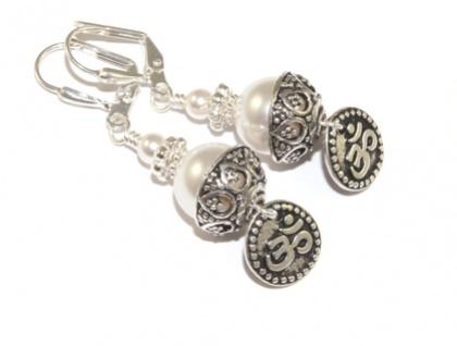White Swarovski Pearl Earrings, Om Symbol - Serenity & Peace