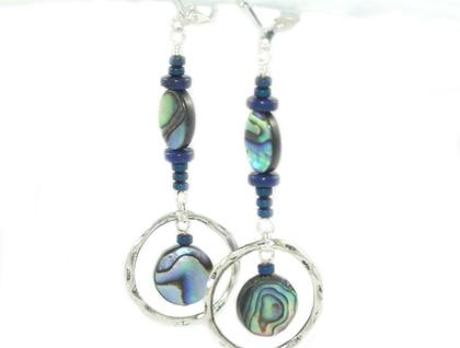 Paua & Blue Lapis Gemstone Silver Earrings - Positive Synergy