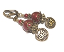 Burgundy Red Swarovski® Pearl Om Earrings, Mindfulness Jewelry