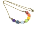 Chakra Necklace with Gemstone Beads & Brass Ball Chain