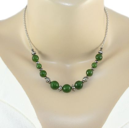 Green Nephrite Jade Necklace - Greenstone Beads, Stainless Steel Chain