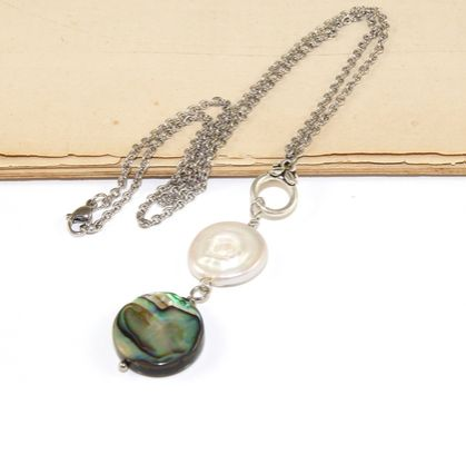 Paua Shell & Freshwater Pearl Drop Pendant Necklace