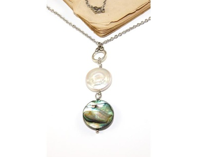Paua & Pearl Drop Pendant Necklace, Stainless Steel Chain