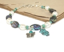 Paua Shell & Freshwater Pearl Bracelet, Owl & Butterfly Charms