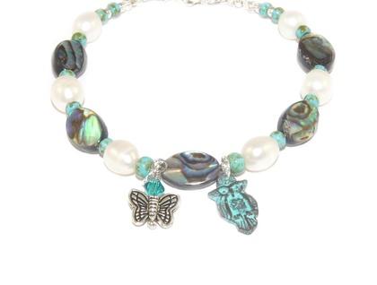 Paua Shell & Freshwater Pearl Bracelet, Owl & Butterfly Charms
