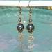 Om Earrings, Tahitian Blue Swarovski Crystals with Om Symbols