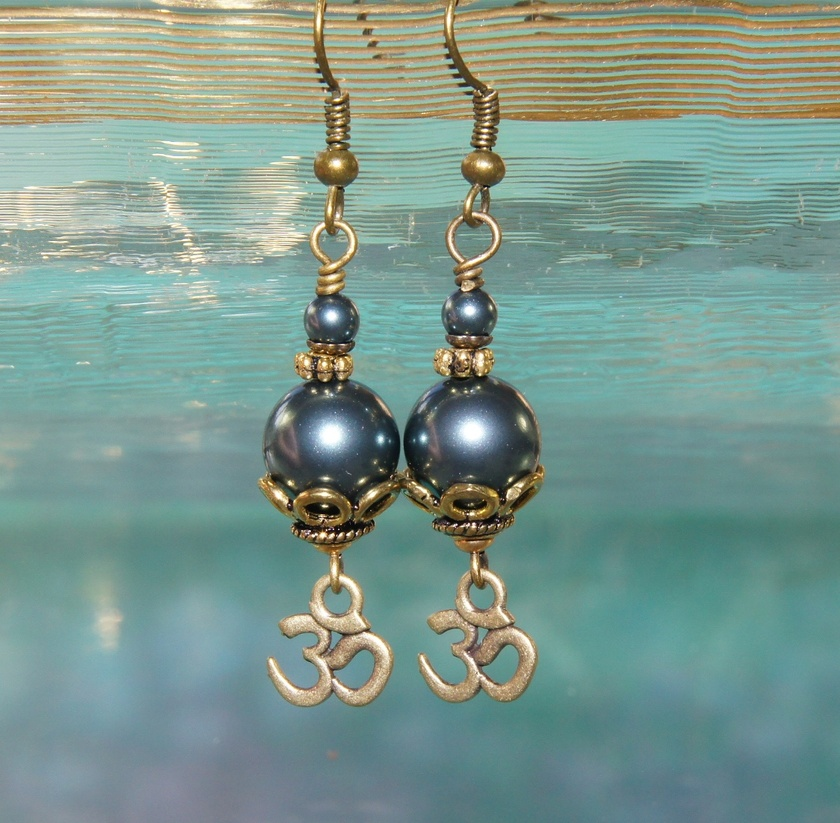 Om Earrings, Tahitian Blue Swarovski Crystals with Om Symbols