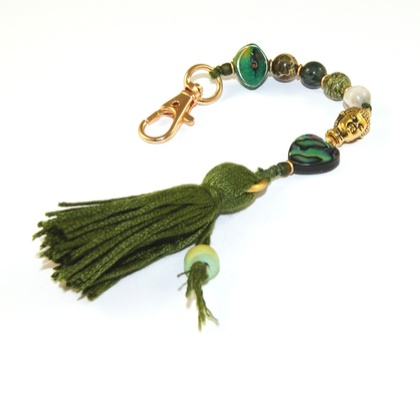 7 Bead Mala Clip, Paua Gemstone & Green Tassel Bag Dangle