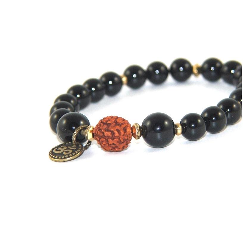 Rudraksha Mala Bracelet, Black Onyx Beads, Om Symbol