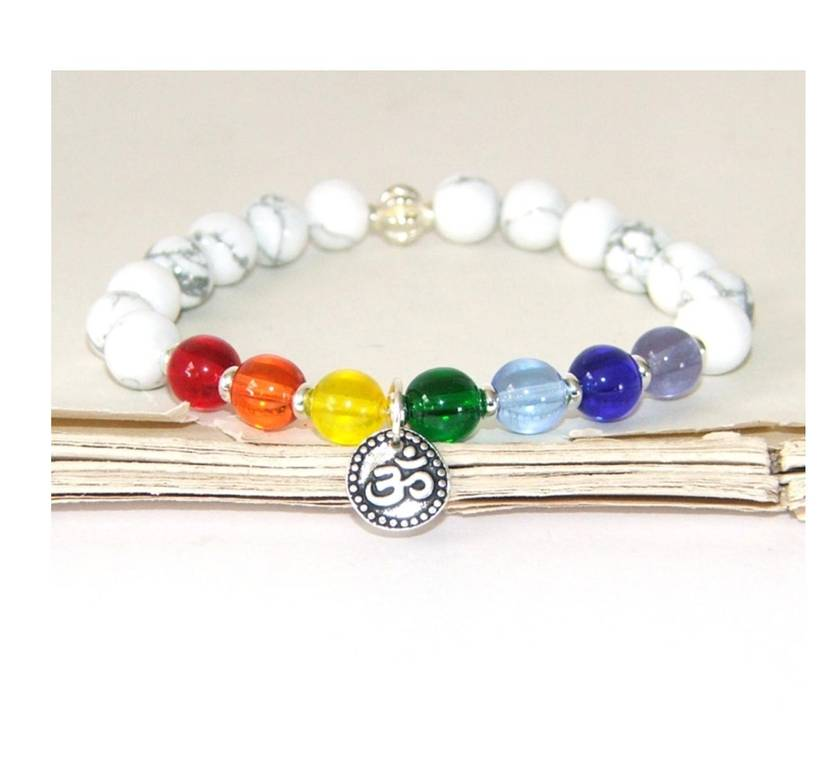 7 Chakra Healing Bracelet, Yoga Jewellery with Om Symbol