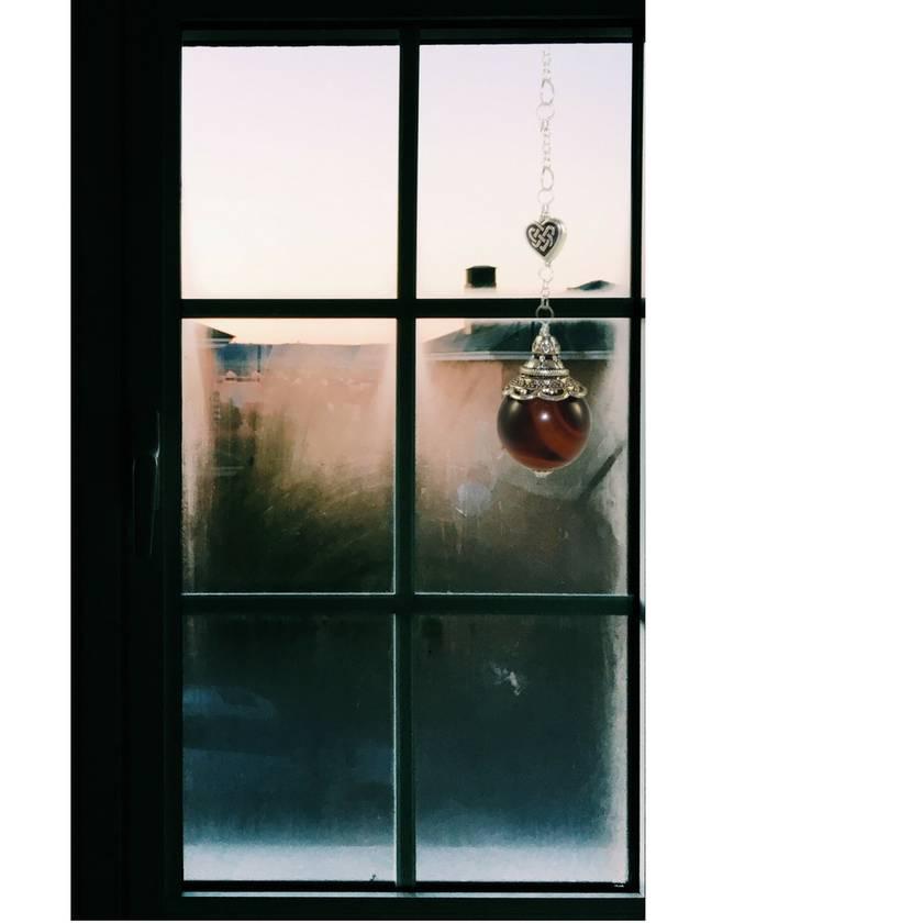 Tigers Eye Gemstone Car or Window Decoration, Celtic Heart Charm