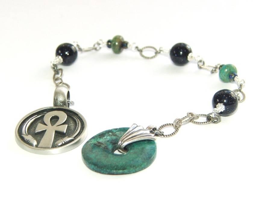 Meditation Beads / Prayer Beads - Natural Turquoise Focus Bead, Pewter Ankh Medallion