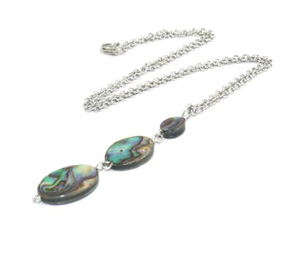 Paua Shell Drop Pendant, Stainless Steel Chain