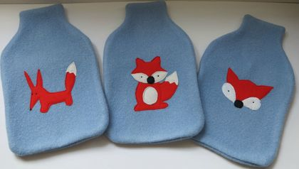 "Hotwater Bottle Cover ""FOXY"" on either Blue or Grey cover"