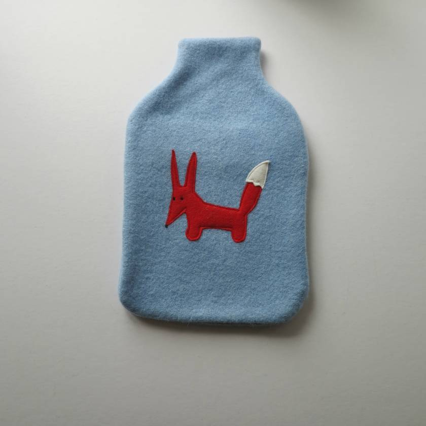 """Hotwater Bottle Cover """"FOXY"""" on either Blue or Grey cover"""