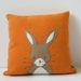 "Cushion ""Little Rabbit"" Beige Rabbit on Orange"