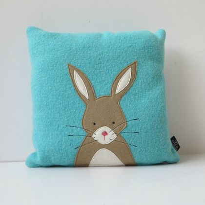 "Cushion ""Little Rabbit"" Beige Rabbit on Turquoise."