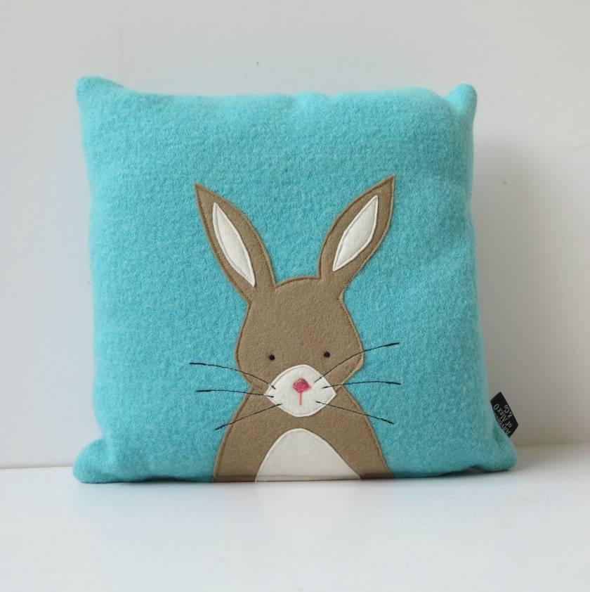 """Cushion """"Little Rabbit"""" Beige Rabbit on Turquoise."""