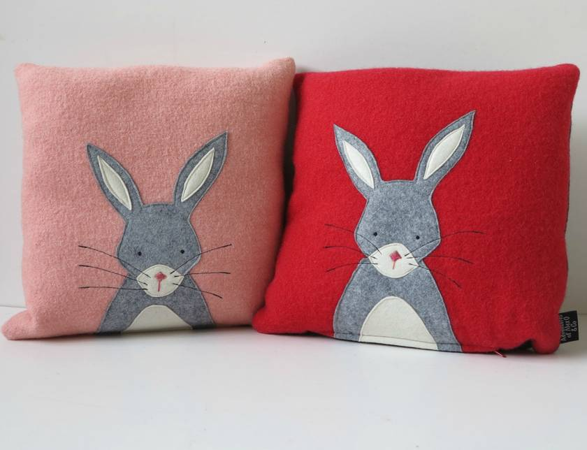 "Cushion ""Little Rabbit""  Grey Rabbit on Pink"
