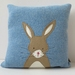 "Cushion ""Little Rabbit"" Beige Rabbit on Blue"