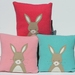 "Cushion ""Little Rabbit"" Beige or Grey Rabbit on your colour choice of background"