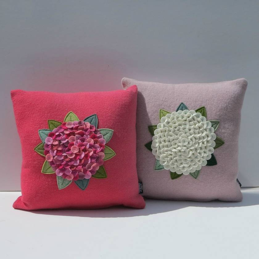 "Cushion  "" Hydrangea in shades of  Pink """