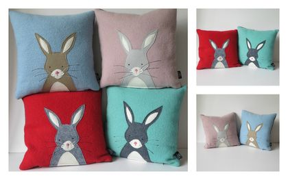 """Cushion """"Little Rabbit"""" Beige or Grey Rabbit on your colour choice of background"""