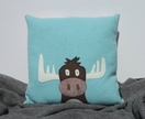 "Cushion ""Brown  Moose on Turquoise"""