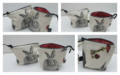 """Rabbit and Mushroom"" cosmetic or jewellery purse"