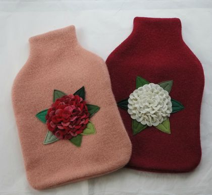 "Hotwater Bottle Cover "" Hydrangea White on red or Red on Peach"""