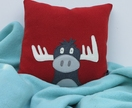 "Cushion ""Grey  Moose on Red"""