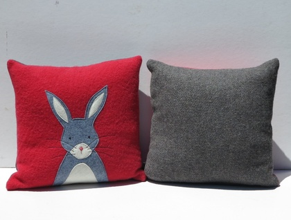 "Cushion ""Little Rabbit"" Grey Rabbit on Red or Tangerine"