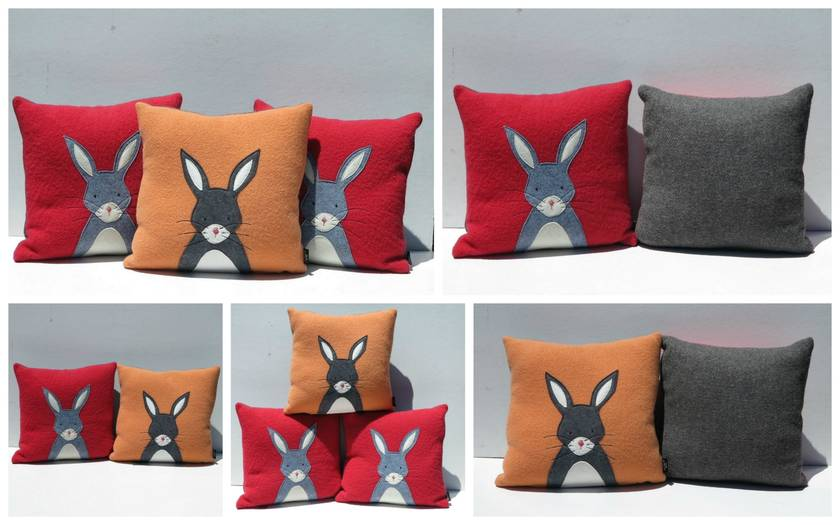 "Cushion ""Little Rabbit"" Grey Rabbit on Red"