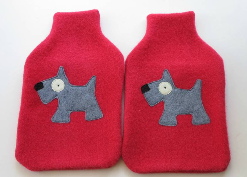 "Hot Water Bottle Cover "" Scottie Dog"""