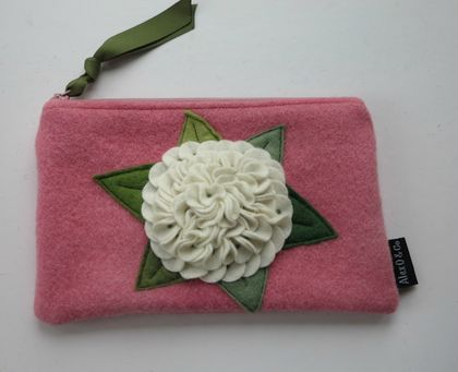 """Purse or Pencil Case"""" White Hydrangea on PinK"""""""