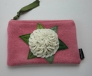 "Purse or Pencil Case"" White Hydrangea on PinK"""