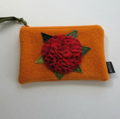 "Purse ""Red Hydrangea on Orange"""