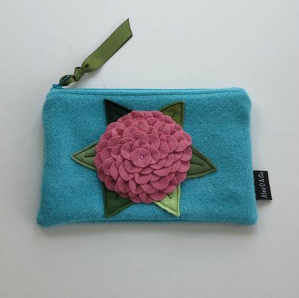 "Purse  "" Pink  Hydrangea on Turquoise"""