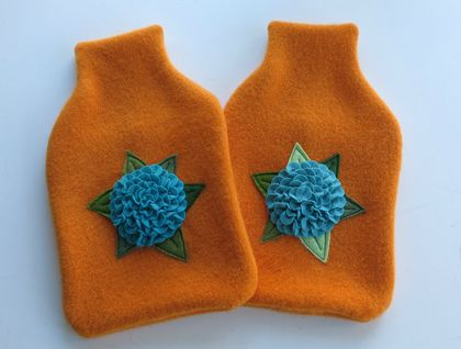 "Hotwater Bottle Cover "" Teal Hydrangea on Orange "" x 1"