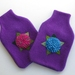 "Hotwater Bottle Cover "" Hydrangea shades of pink on purple cover"""