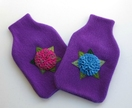 "Hotwater Bottle Covers "" Hydrangea shades of blue on a purple cover"""