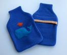 "Hotwater Bottle Cover ""Whale and Friend"" on Royal Blue"