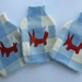 "Hotwater Bottle Cover ""FOXY"" on cream and blue check."