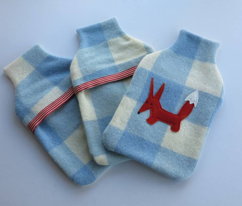 """Hotwater Bottle Cover """"FOXY"""" on cream and blue check."""