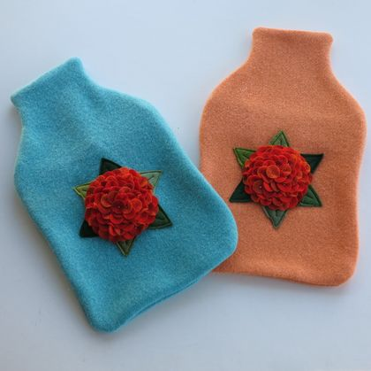 "Hotwater Bottle Cover "" Hydrangea shades of orange on turquoise cover"""