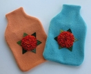 "Hotwater Bottle Cover "" Hydrangea shades of orange on a melon cover"""