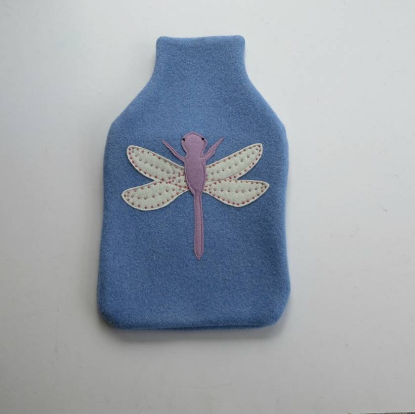 "Hotwater Bottle Cover "" Lilac Dragon fly on Cornflower Blue"""