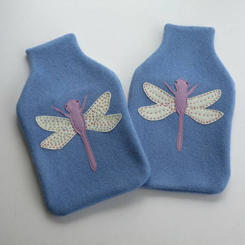 """Hotwater Bottle Cover """" Lilac Dragon fly on Cornflower Blue with Rainbow wings"""""""